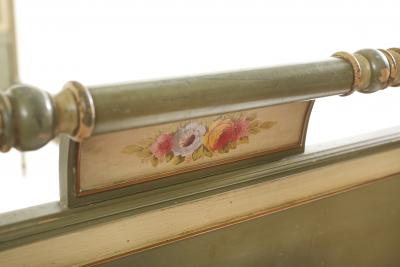 19th Century Floral Paint Decorated Twin Bed