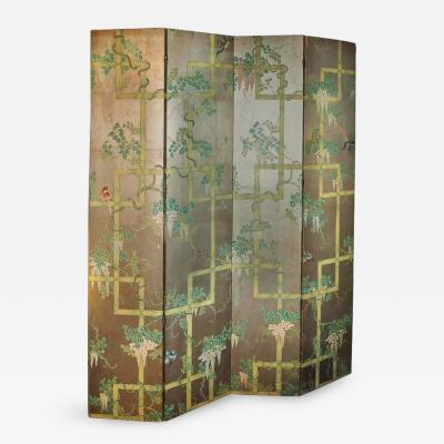 19th Century Four Panel Painted Screen of Birds and Bamboo