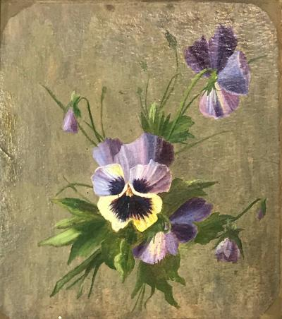 19th Century Framed Pansies Oil on Board