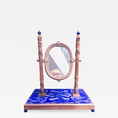 19th Century French Bronze Dor Solid Lapis Lazuli Dressing Table Mirror