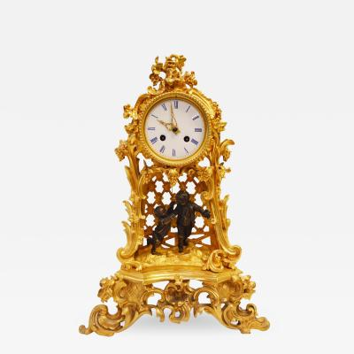 19th Century French Bronze Gold Plated Clock