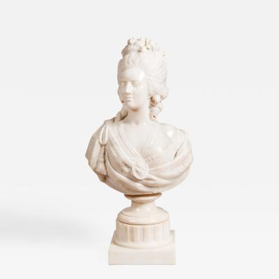 19th Century French Carrara White Marble Bust of Marie Antoinette