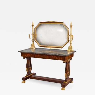 19th Century French Empire Mahogany Gilt and Marble Topped Dressing Table