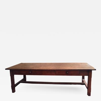 19th Century French Farmhouse Trestle Table in Cherrywood