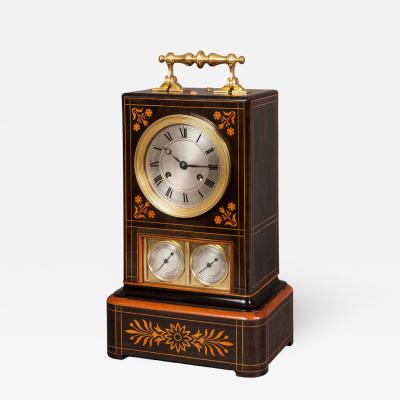 19th Century French Foliate Inlaid Mantle Clock
