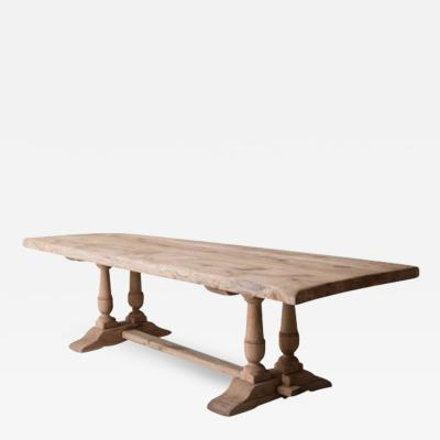 19th Century French Large Bleached Oak Proven al Style Trestle Table