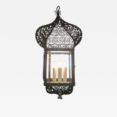 19th Century French Moroccan Iron Lantern