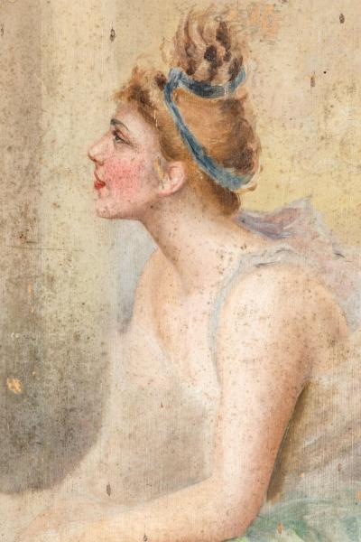 19th Century French Oil Painting of a Seated Ballerina