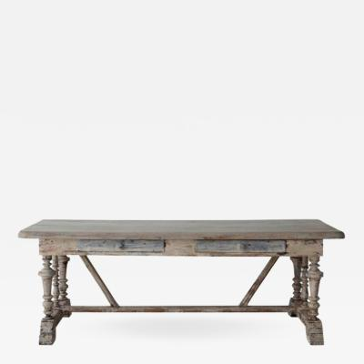 19th Century French Painted Monastery Trestle Table