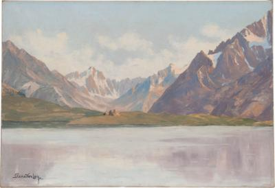 19th Century French Painting of a Mountain View