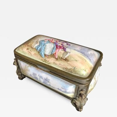 19th Century French Polychrome Enamel and Bronze Jewelry Box Casket