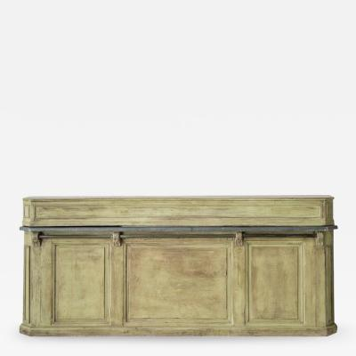 19th Century French Two Part Painted Dry Bar With Zinc Top