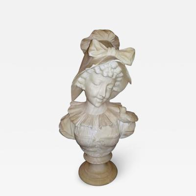 19th Century French White Alabaster Bust of Lady in Bonnet