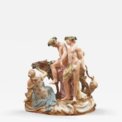 19th Century Germany Meissen Porcelain Grouping