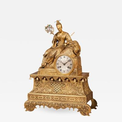 19th Century Gilt Bronze Mantle Clock in the Chinoiserie Taste