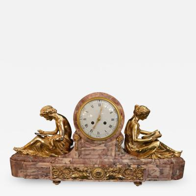 19th Century Gilt Bronze Ormolu and Marble Clock