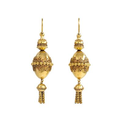 19th Century Gold Pendant Earrings