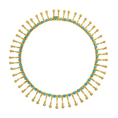 19th Century Gold and Turquoise Fringe Necklace Marret Baugrand France