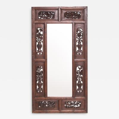 19th Century Grand Chinese Floral Carved Mirror