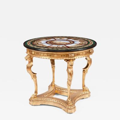 19th Century Grand Tour Giltwood and Micromosaic Centre Table with Roman Scenes