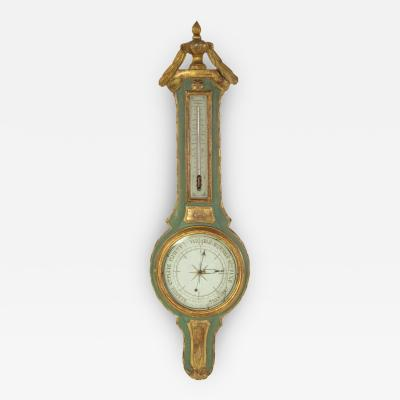 19th Century Green Gilt Carved Thermometer Over Barometer Circa 1850