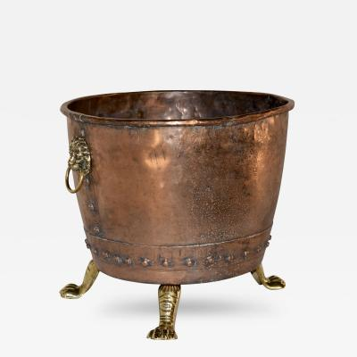 19th Century Hammered Copper Log Bucket