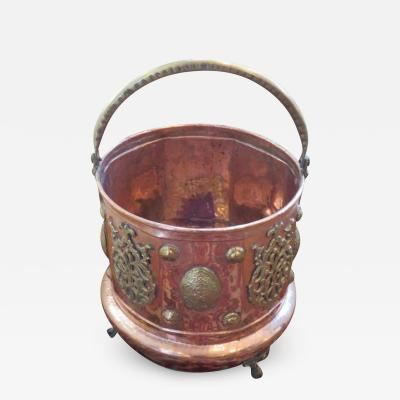 19th Century Hand Hammered Copper and Brass Coal Bucket or Planter