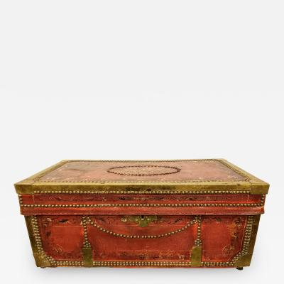 19th Century Hand Painted Chinese Camphor Wood and Leather Trunk