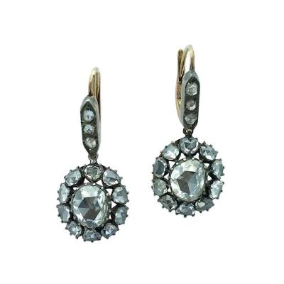 19th Century Holland Rose Cut Diamond Silver Yellow Gold Earrings