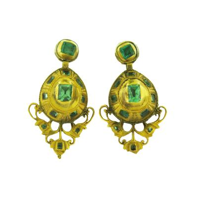 19th Century Iberian Emerald and Gold Earrings
