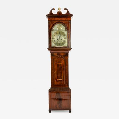 19th Century Inlay Mahogany Wood Long Case Clock