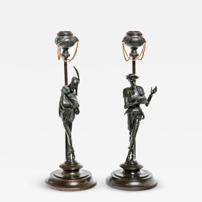 19th Century Italian Bronze Candlesticks A Pair