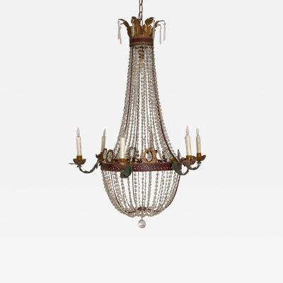 19th Century Italian Neoclassical Crystal Six Light Chandelier