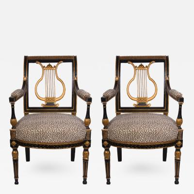 19th Century Italian Neoclassical Ebonized and Parcel Gilt Armchairs Pair