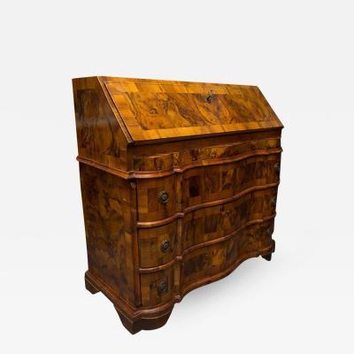 19th Century Italian Rococo Burl Walnut Slant Front Desk