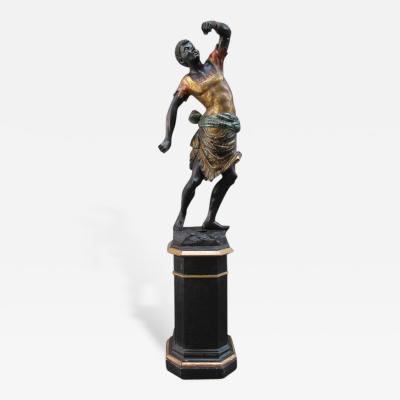 19th Century Italian Venetian Blackamoor Statue on Pedestal Base