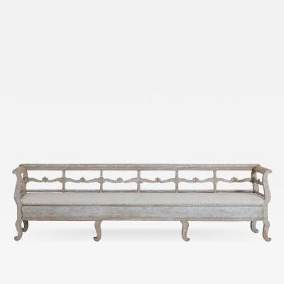 19th Century Karl Johan Period Original Paint Long Sofa Bench