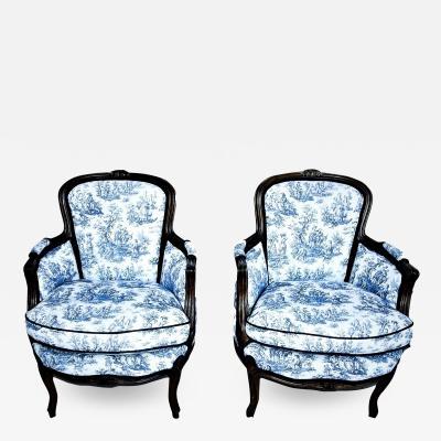 19th Century Louis XV Style Bergeres pair