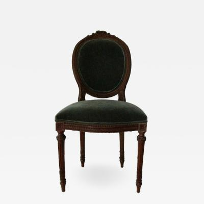 19th Century Louis XVI Chair Covered in Teal Mohair