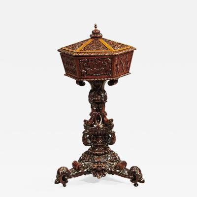 19th Century Madras Indian Carved Occasional Table or Sewing Table