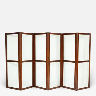 19th Century Mahogany and Glass Six Paneled Screen