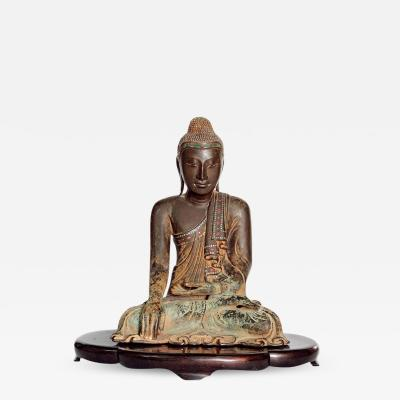 19th Century Mandalay Style Buddha of Bronze with Verdigris