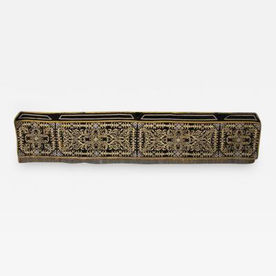 19th Century Metallic Appliqued Velvet with Fringe