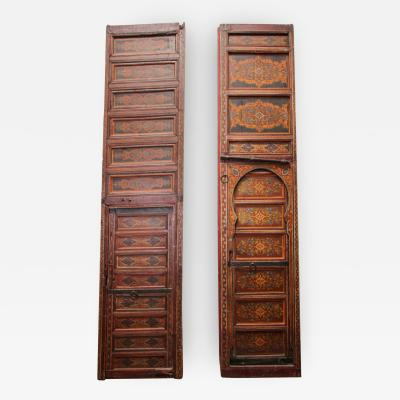 19th Century Moroccan Antique Double Door with Hand Painted Moorish Designs