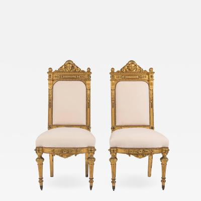 19th Century Neoclassical Style Giltwood Hall Chairs