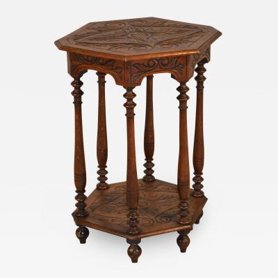 19th Century Octagonal Side Table with Carving