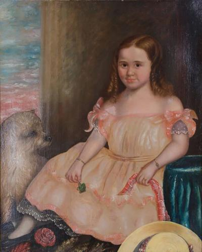 19th Century Oil on Canvas of Girl and Dog