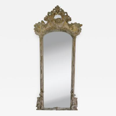 19th Century Painted Carved Mirror with Carved Rose