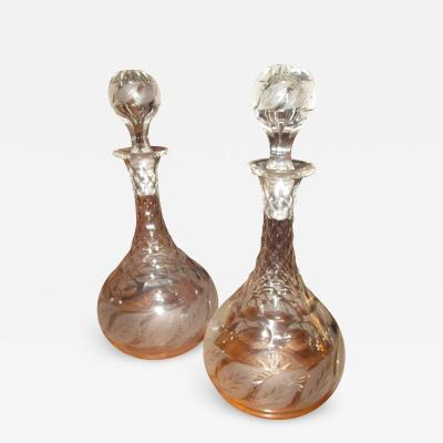 19th Century Pair English Etched Glass Decanters