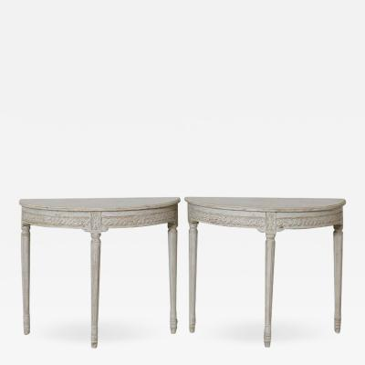19th Century Pair Of Swedish Gustavian Style Demi Lune Console Tables